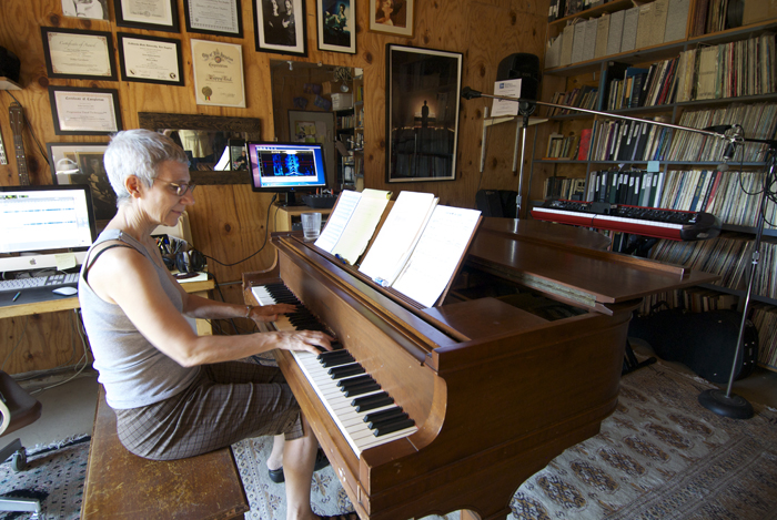 Weba Garretson plays the Hardman Piano in the Weba Vocal Studio at Catasonic